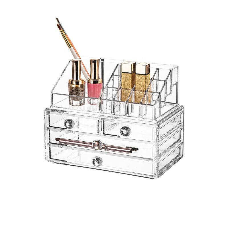 M-8215A Free Sample 4 Drawer Acrylic Makeup Organizer Aryl Jewelry Box Cosmetic Organizer