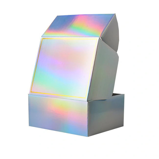 Custom Luxury Cardboard Corrugated holographic Mailing Mailer Shipping Box Custom Logo with Carton Packaging Boxes for Clothes