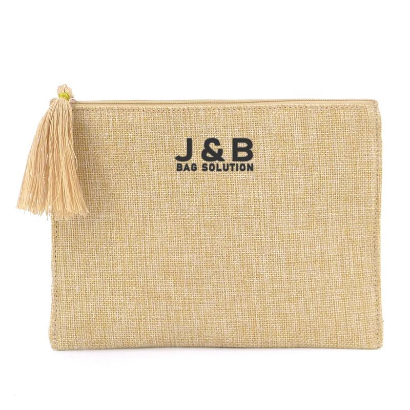 Eco Friendly Custom Printed Nature Linen Makeup Cosmetic Bag Tassel Zippered Pouch with Custom Logo Make Up Toiletry Clutch Bag