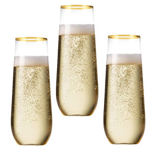 Gold Rim Stemless Plastic Champagne Flutes 9 Oz Clear Unbreakable Toasting Wedding Wine Glasses, Shatterproof Disposable