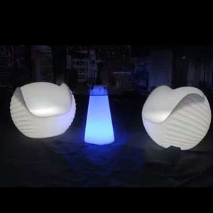 Desain Melengkung IR Kontrol RGB Warna Berubah Diterangi LED Single Sofa Kursi Telur Plastik Kursi Outdoor Furniture Sofa