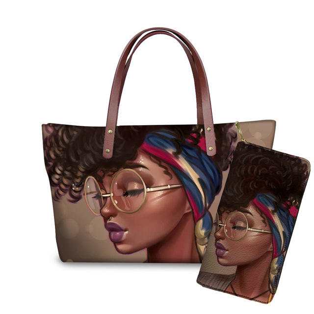 Wholesale Ladies Tote Bag Set Art Black American African Girls Printed Designer Handbags Famous Brands Purses And Handbags Women