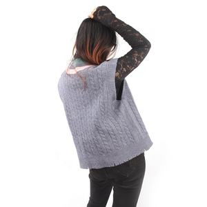 Women v-neck pullovers sleeveless vest twisted rope process sweater for spring and autumn