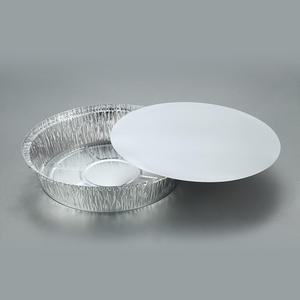 disposable aluminum foil round size 215x42mm pans 8.5inch pizza plates embossed food packing container