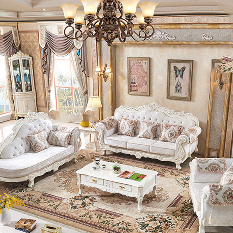 Luxurious European Style White Gilt Wooden Sofa Set/Upholstery Living Room Sofa