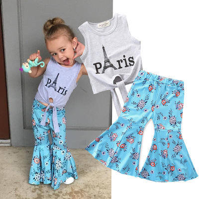 2020 Children's trendy Wear Sleeveless Gray Letter T-Shirt+Blue Print Flare Pants Girls fancySet little miss woman clothes girls