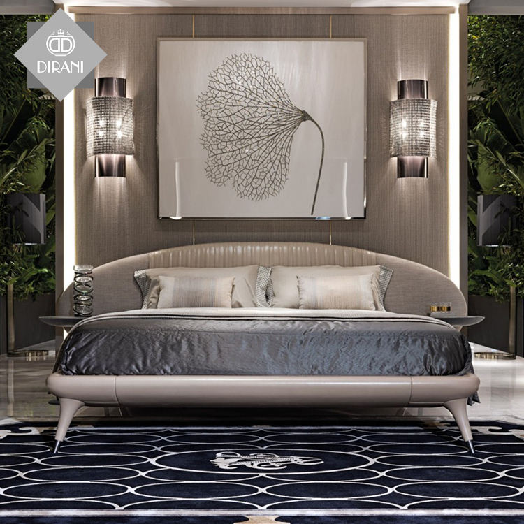 modern luxury furniture wholesale wooden platform bed with ottoman models king size light grey wooden frame fabric bed