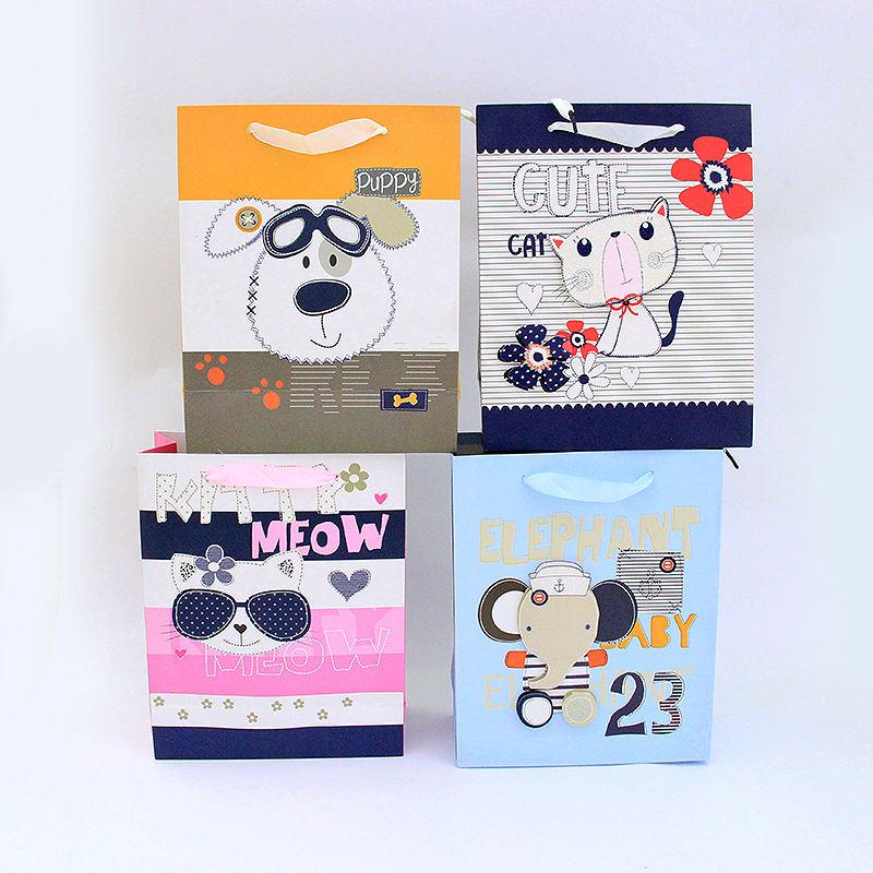 Factory new arrival good quality lovely funny animal design custom gift paper bag