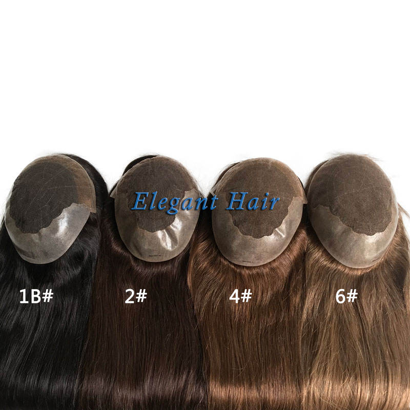 Elegant Hair swiss lace with PU at sides and back 20inch hair length with #2 color hair topper