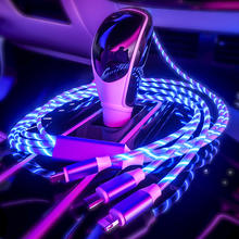 2020 New Trending LED Flowing Light Magnetic Charging Cable Cellphone Fast Charging Cord Micro USB Cable Charger Data Cable Line