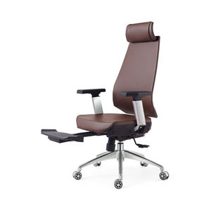 High Quality Brown Swivel Leather Function Office Chair And Ottoman