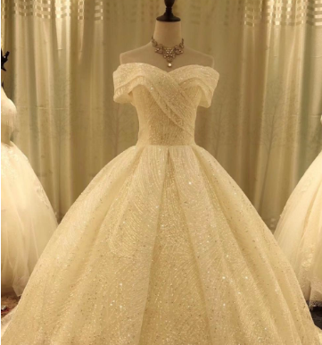 2020 new manufacturers direct customized large size high-end sequin lace bridal gown night white wedding dress