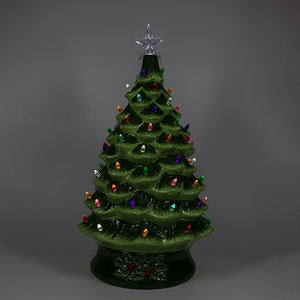 Lovely Design Large Unique Green Ceramic Christmas Tree Pre Lit Ornaments