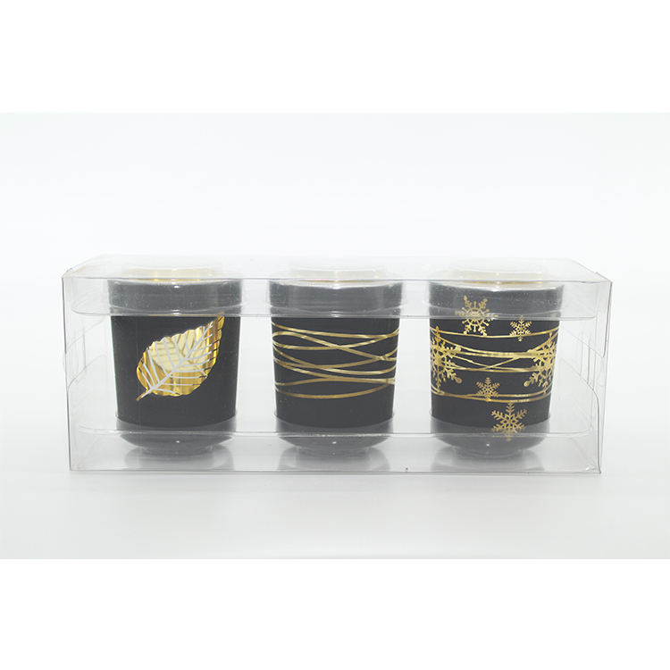 Christmas gift factory wholesale glass candle holder set home decoration new year gift glass candle jar set