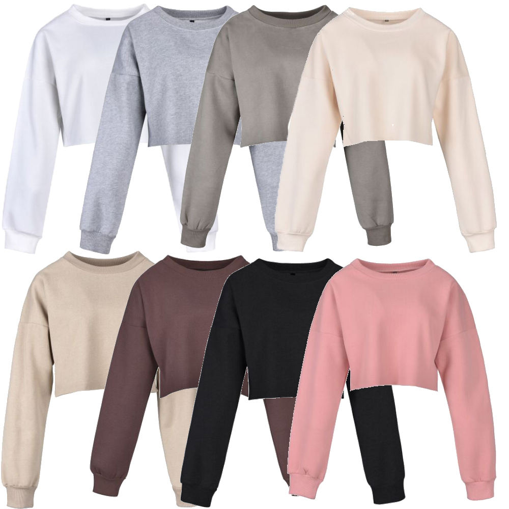 custom wholesale cropped top hoodies sweatshirt woman printing plain cotton crewneck cropped hoodie women