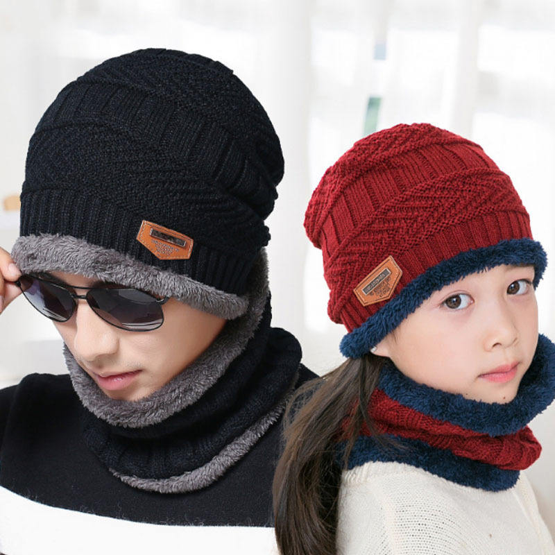 Neck warmer knitted hat scarf set fur Wool Lining Thick Warm Knit beanies Winter Hat For men women Cap