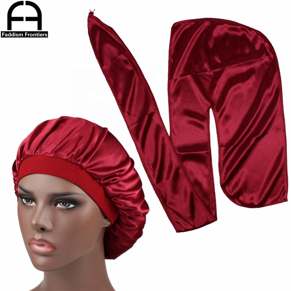 Men Silk Durag Match Silk Bonnet for Women Same Color Silky Durag Bandanas for Men Long Tail Durags Wave Cap Sleep Cap