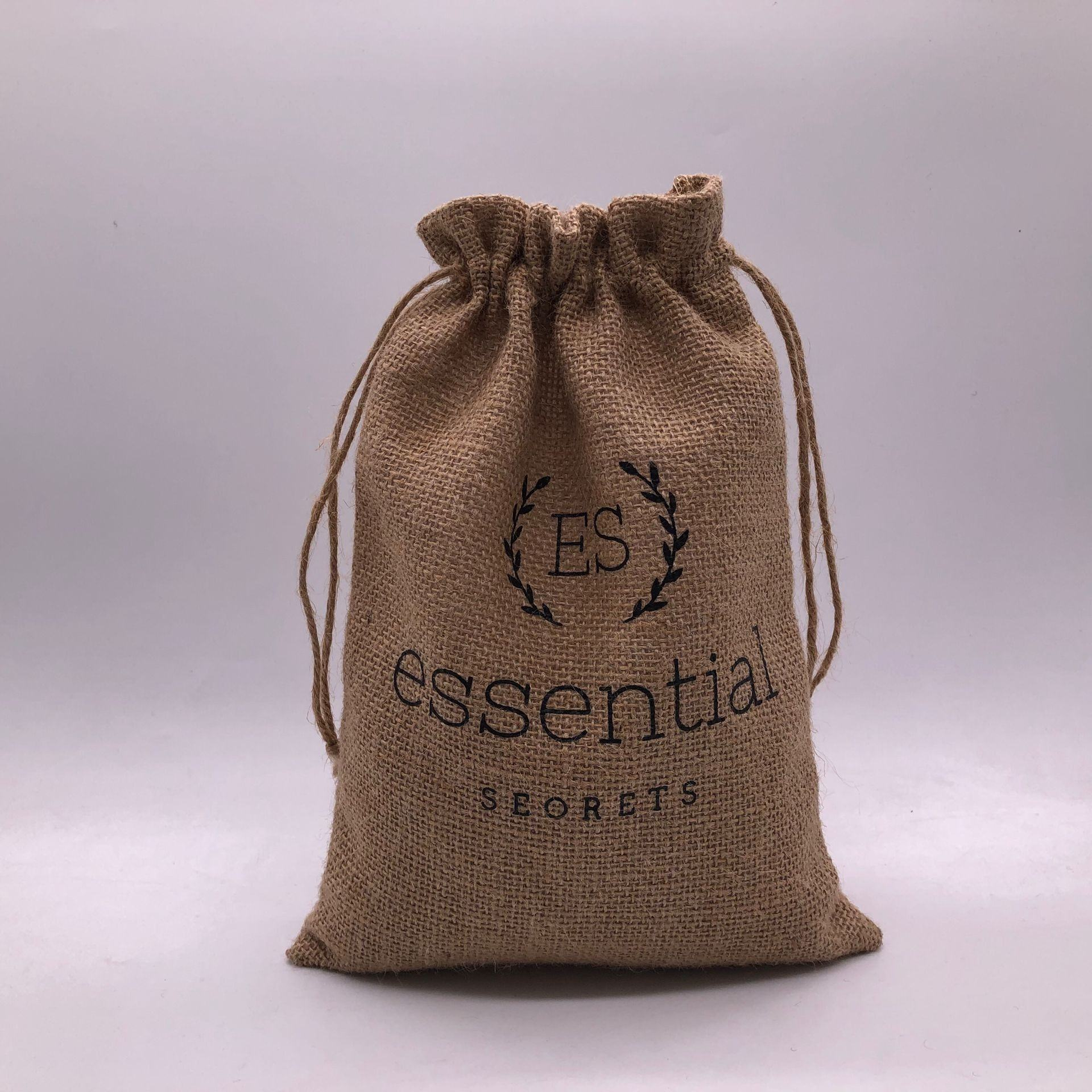 Custom Logo Printed Jute Pouch For Gift