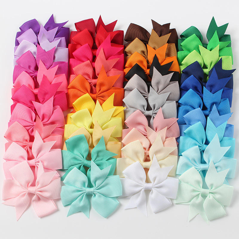 Multi Color Swallowtail Grosgrain Ribbon Wholesale Party Gift candy color girl hair accessory Hair Ornament Hair Bow With Clip