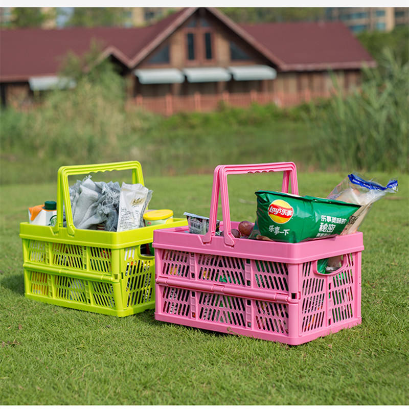 New Design Portable Carry Handle Foldable Plastic Picnic Basket For Shopping/Car