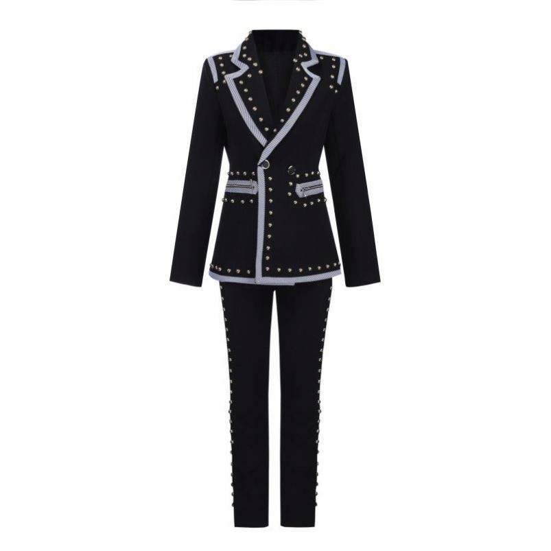 new arrival fashionable beading slim fitting blazer and rivet beading bodycon pencil pant two pieces business woman blazer suit