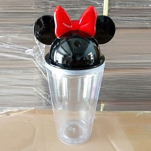 Minnie, Mickey mouse cup 16 oz personalized acrylic plastic double wall skinny tumbler cups in bulk with lid and straw