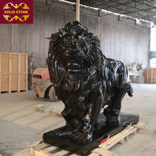 High end custom design western style black granite stone lion sculpture