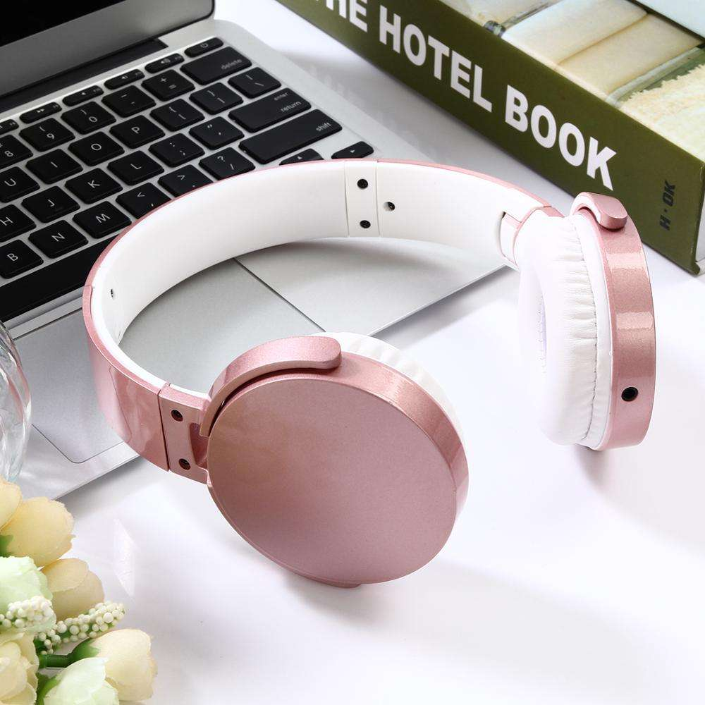 Bluetooths Universal Wired Custom Headset For Girls Kids Headphone With Mic metal gold headphone
