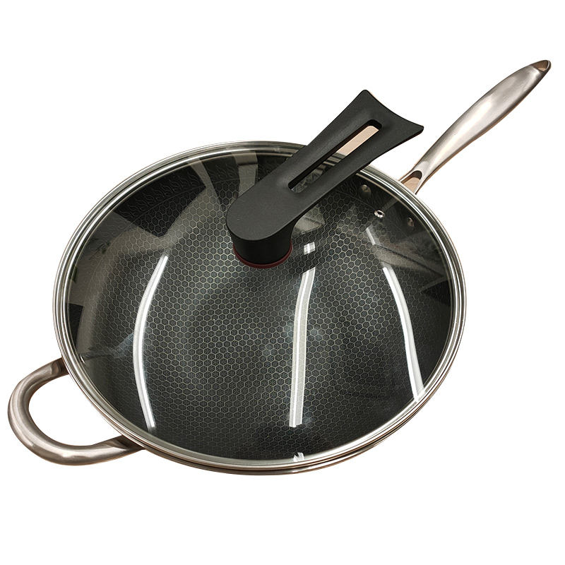 In Stock China Cast Iron Wok With Wooden Lid Vegetables Oil Wok Pan