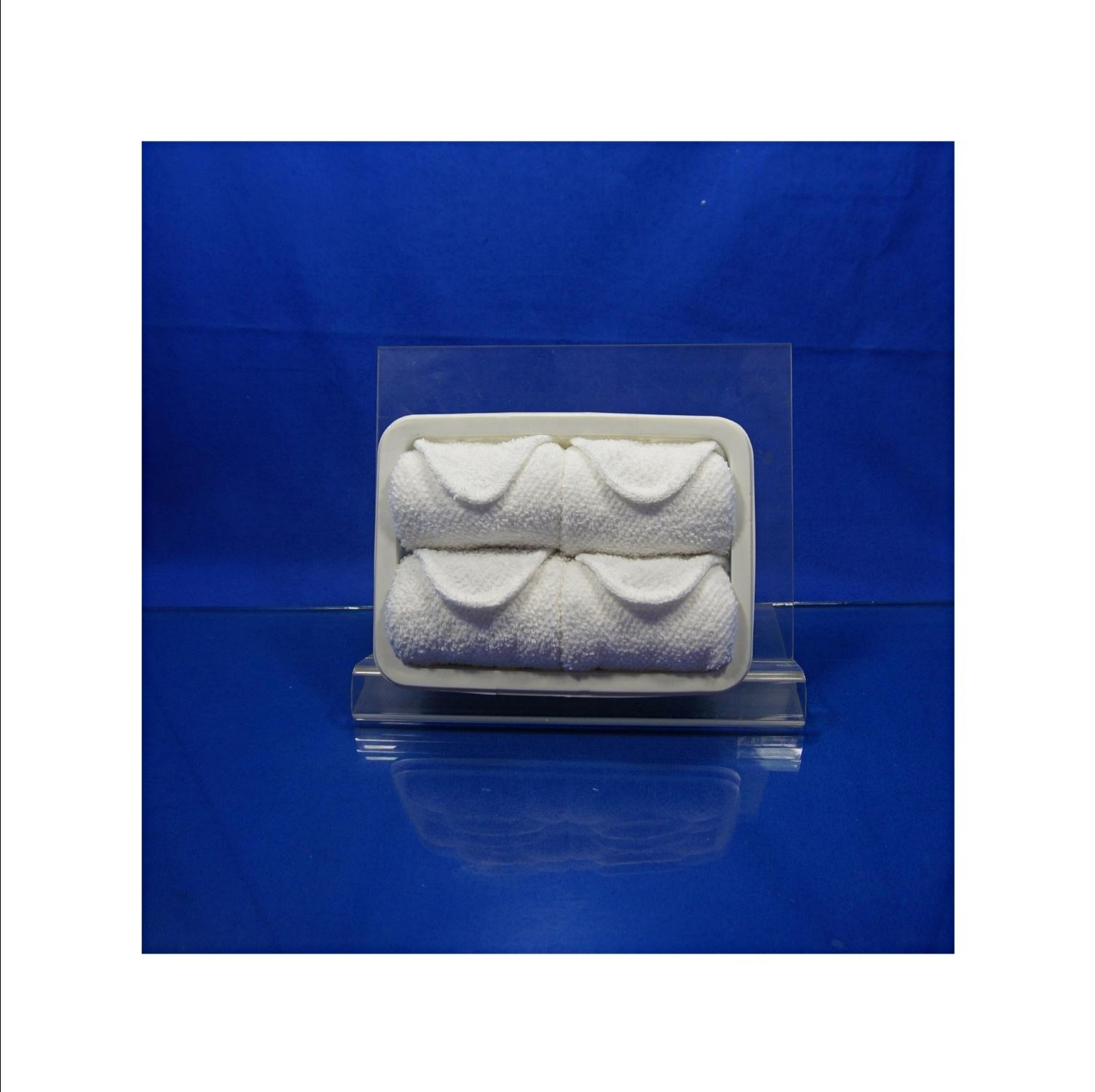 cotton refreshing disposable cold/hot airline towel in tray