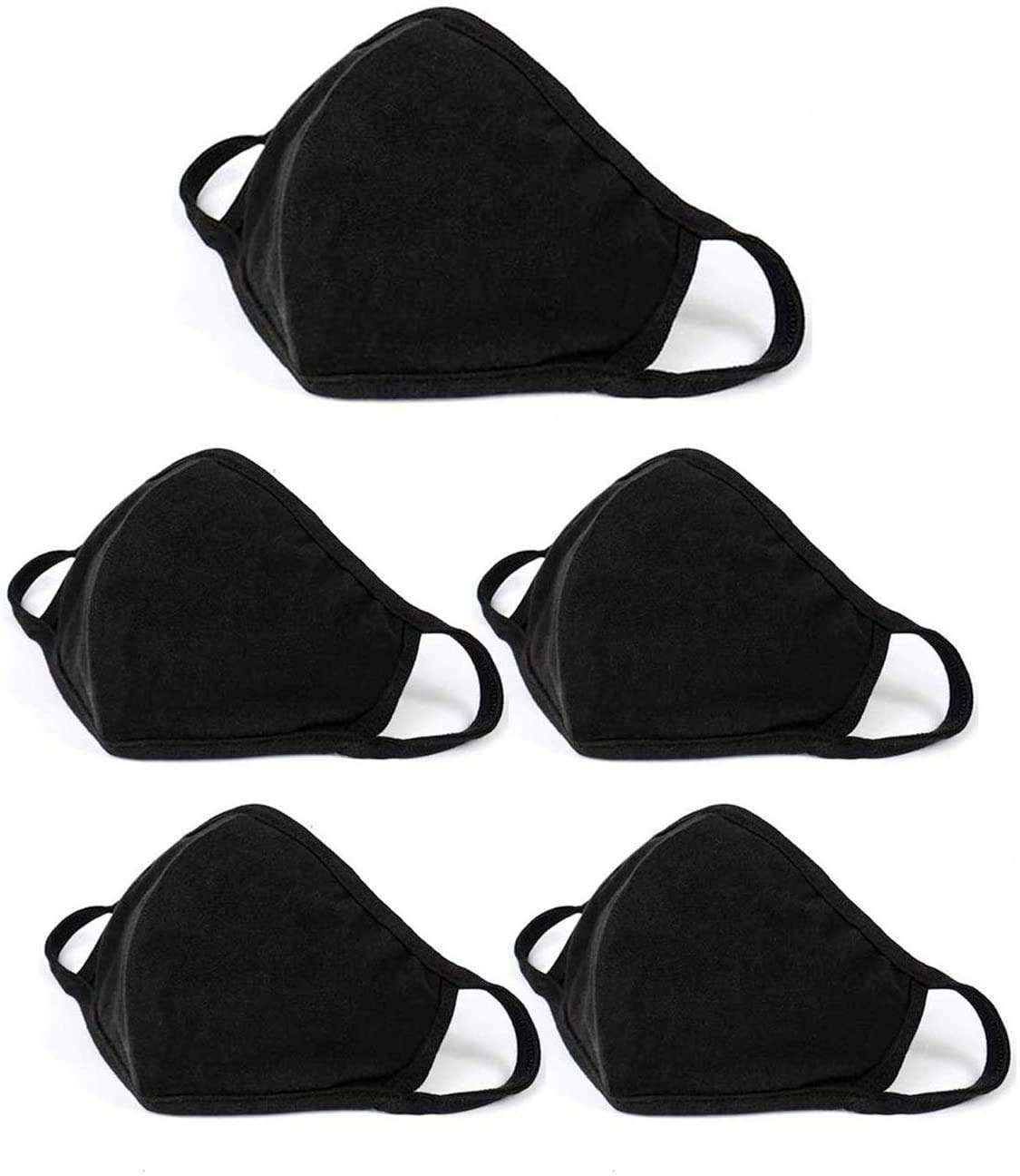Fashion Washable Men Women Reusable Cotton Cloth Fabric Breathable Unisex Black Dust Face Mask with Custom Logo