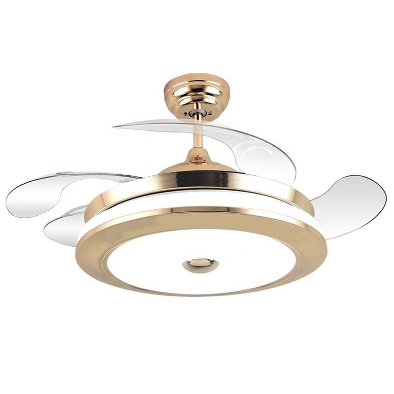 Cheap Price Designer 42 Inch 36 Remote Control Chandelier Ceiling Fan Lamp With Bluetooth Speaker modern retractable 4 blades