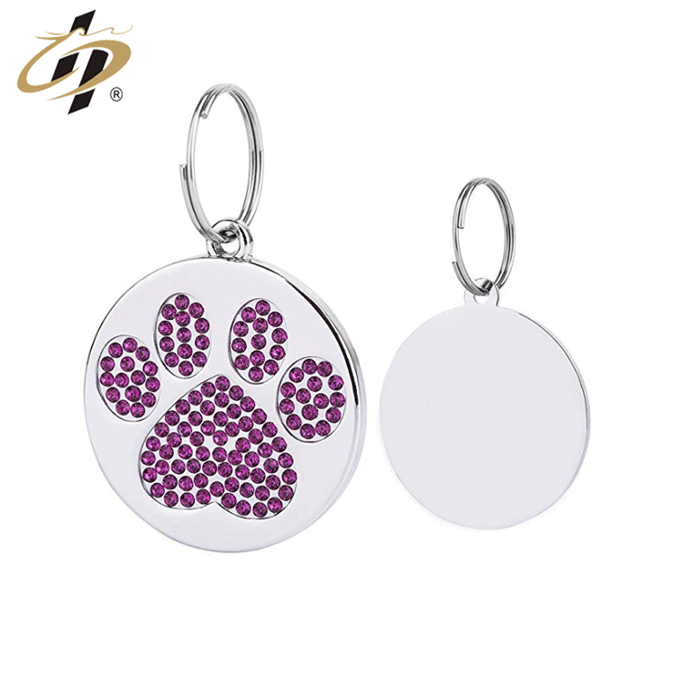 Wholesale cheap custom sliver metal glitter paw pet dog tag charm and pendant