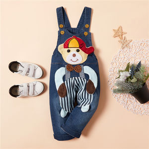 Autumn Red Hat little Bear strip newborn toddler denim overalls boys cheap price overall rompers baby girl jeans