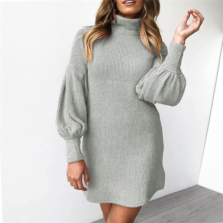 Autumn Winter Women Causal Long Sleeve Short Knitted Sweater Dresses
