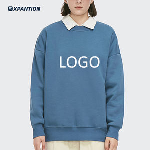 Factory Drop Shipping Custom Crewneck Knitted Cotton High Street Vintage Plus Size Blue Basic Sweatshirt