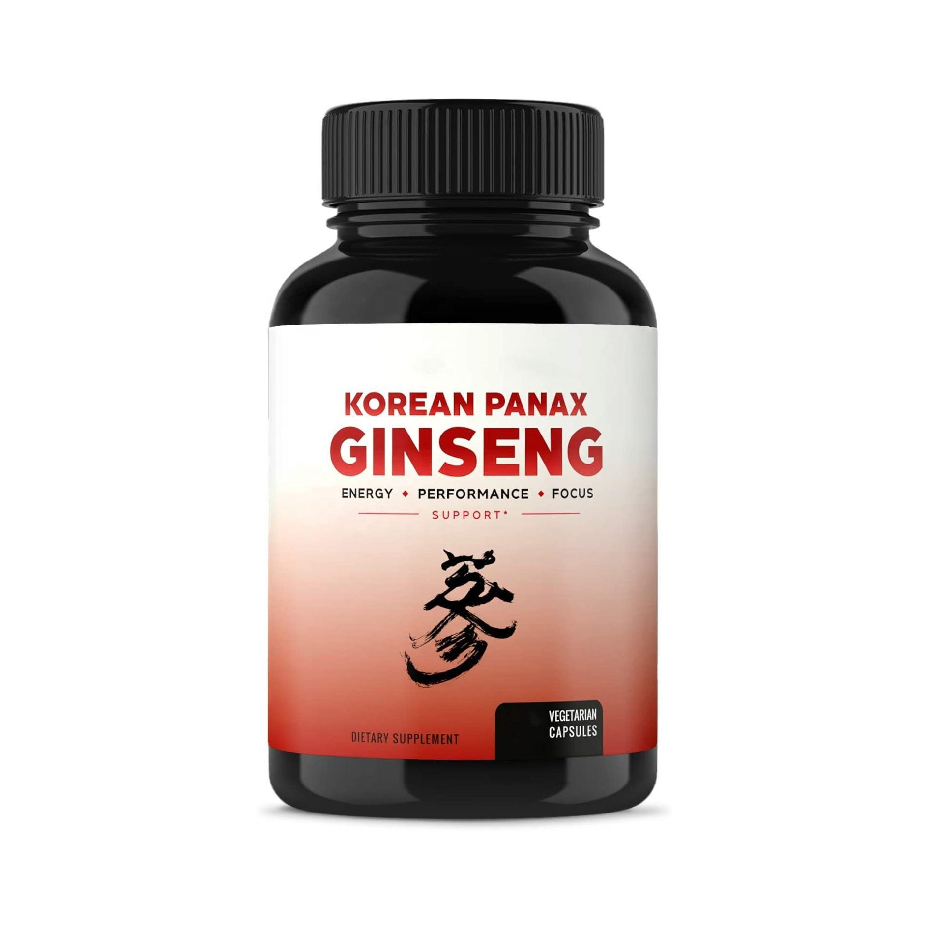 Korean Red Panax Ginseng 1000mg 60 Capsules Extra Strength Root Extract Powder Supplement Focus Pills for Men & Women