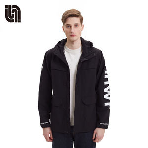 Autumn mens knitted casual black coats OEM softshell jacket