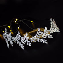 Factory wholesale price big silver leaf handmade bridal wedding flower headpiece