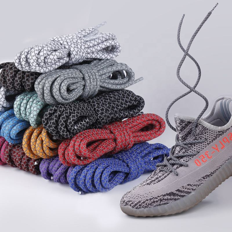 Hot sale fat boy shoe lace/lace man shoe/ 3m Round Reflective Polyester Sport Shoelaces