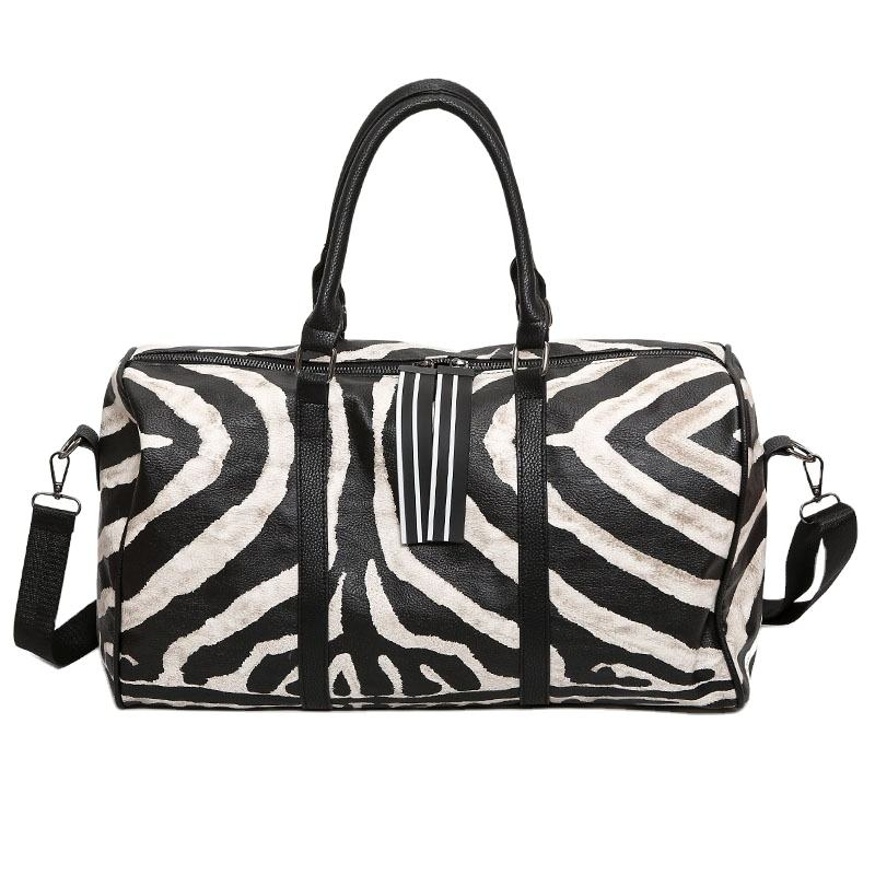 Waterproof PU Leather Travel Duffle bag Customized Lady Zebra Stripes Travel Bag