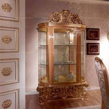 Rococo golden wood carved glass wine cabinet living room curio display cabinet
