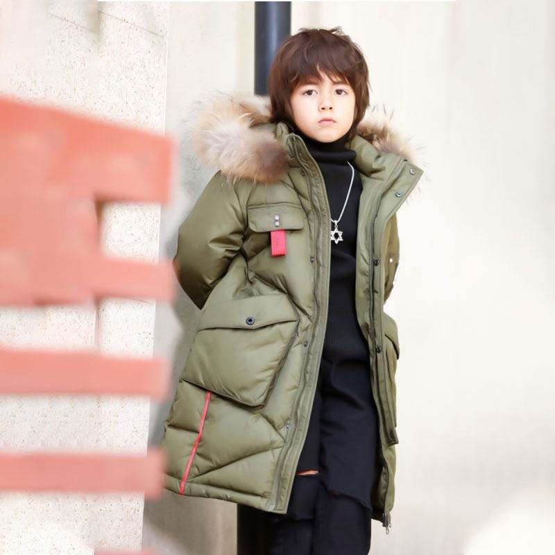 Longue Boutique Casual Nouvelles Vestes D'hiver Élégant Mode Garçons Enfants Capuche Fourrure Manteau