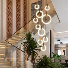 Hotel Acrylic Rings Fixtures Stair Lighting Wood hanging Modern LED Chandelier Ceiling Nordic Living Room Pendant Lamps