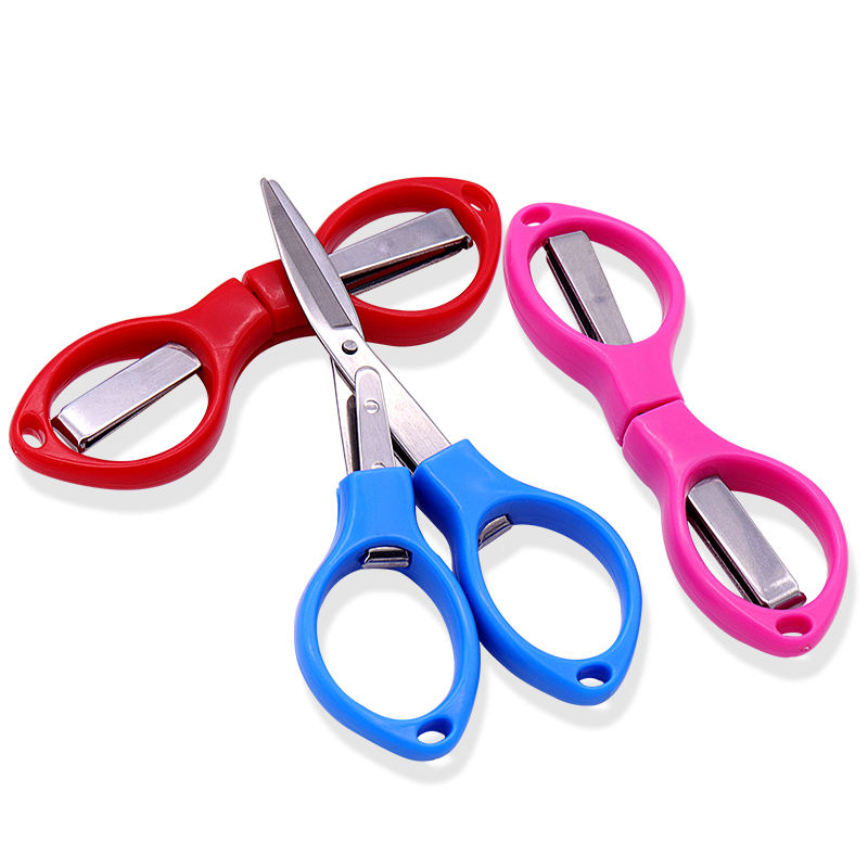 Convenient Travel safety Multicolor metal material folding feature plastic shear handle small portable fishing scissors