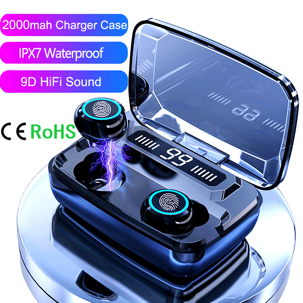 Free Shipping 1 Sample OK CE RoHS IPX7 2000mah Wireless Earbuds Headphone Gaming Headset TWS Wireless Earphones For Bluetooth