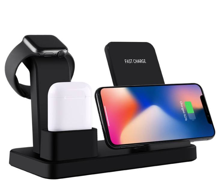 2019 Mobile Phone Charging Station 3 In 1 Qi Portable Smart Watch Wireless Charger