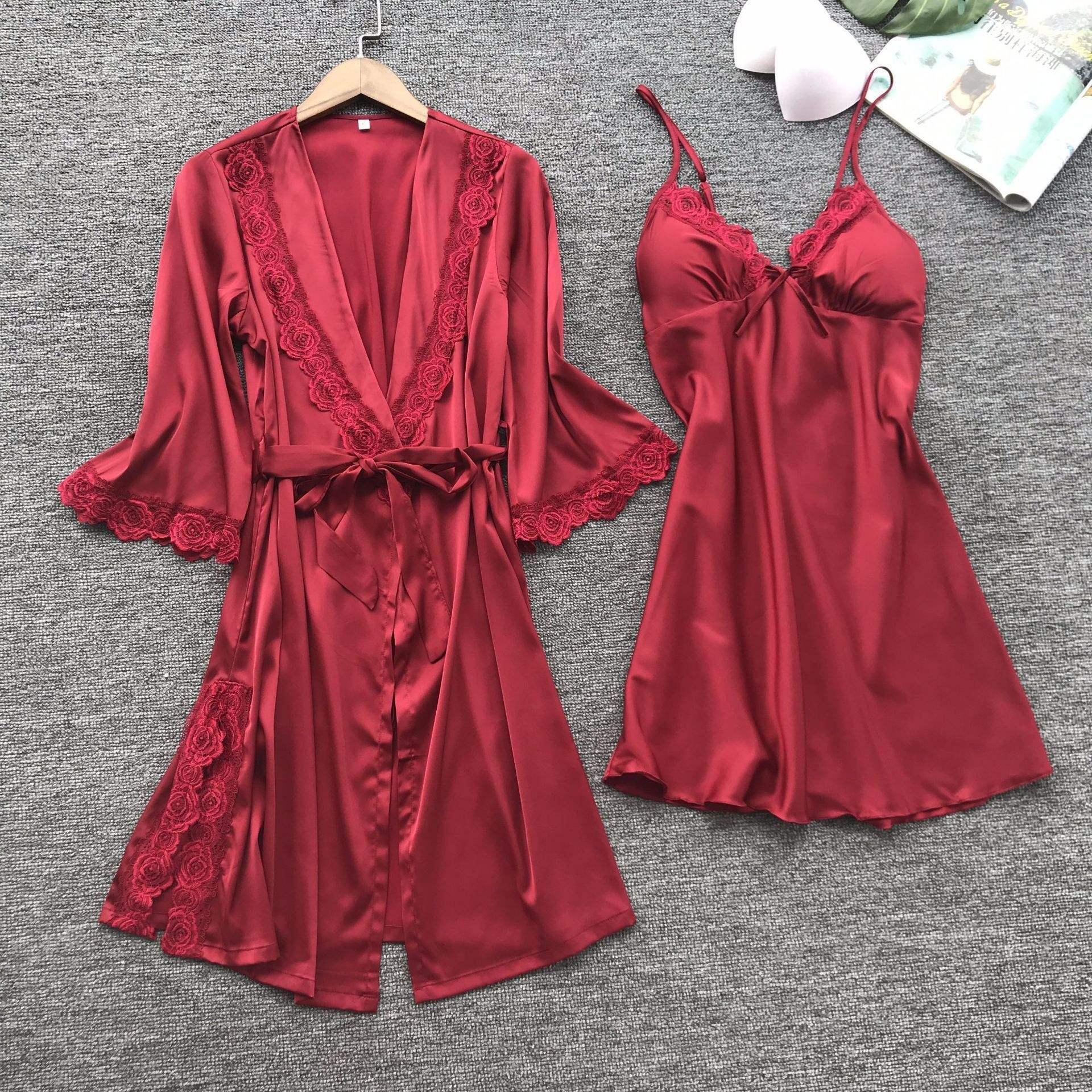 Sexy Women's Robe & Gown Sets Lace Bathrobe + Night Dress 4 Four Pieces Sleepwear Womens Sleep Set Faux Silk Robe Femme