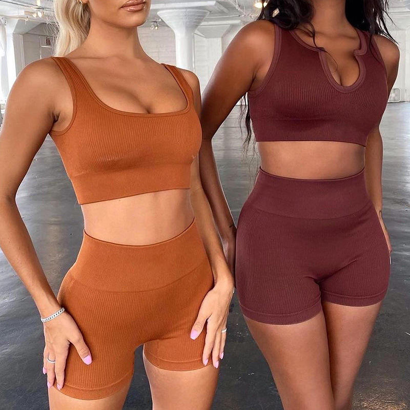 Fashion Ribbed Workout Clothing Fitness Sports Crop Top And Yoga Shorts Set