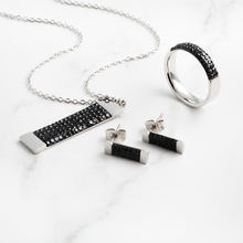 Factory selling square strips inlaid black mud diamond necklace earrings ring three-piece jewelry